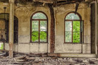 Fenster des Gasthofs in Gauernitz