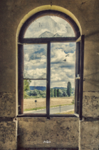 Fenster des Gasthofs in Gauernitz einzeln