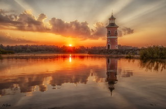 leuchtturm moritzburg sonnenaufgang